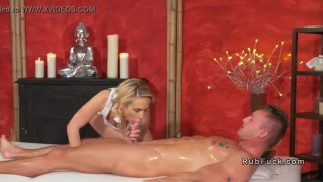 Blonde masseuse gives footjob and fuck